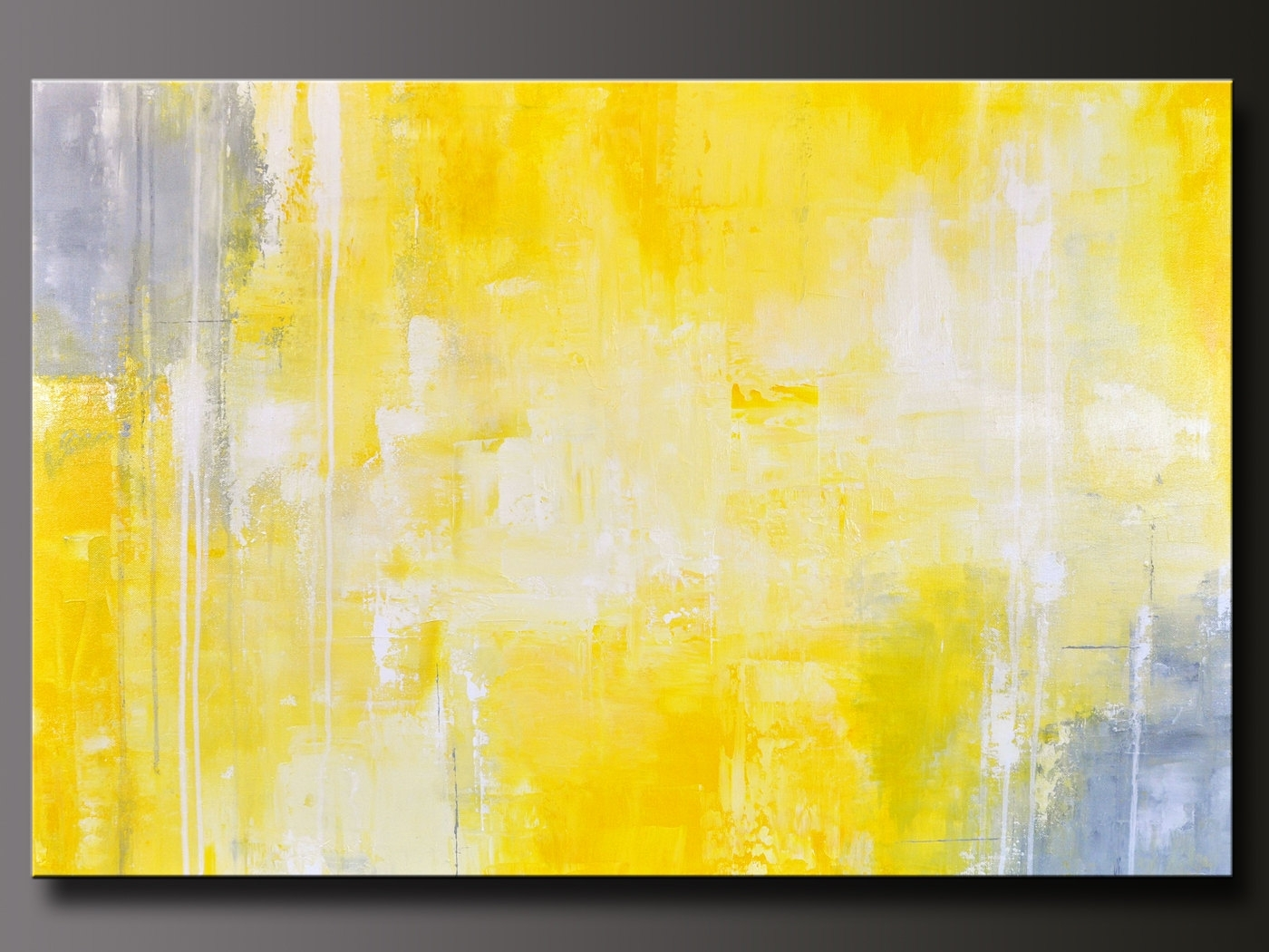 Abstract In Yellow 13 Abstract Acrylic Painting, Yellow And Gray Within Yellow And Gray Wall Art (View 6 of 20)