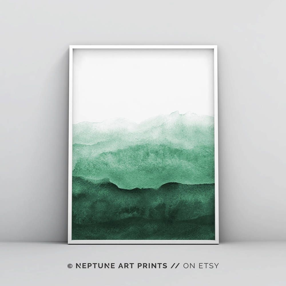 Abstract Wall Art Print, Green Painting, Emerald, Teal Decor, Modern Intended For Green Wall Art (View 3 of 20)