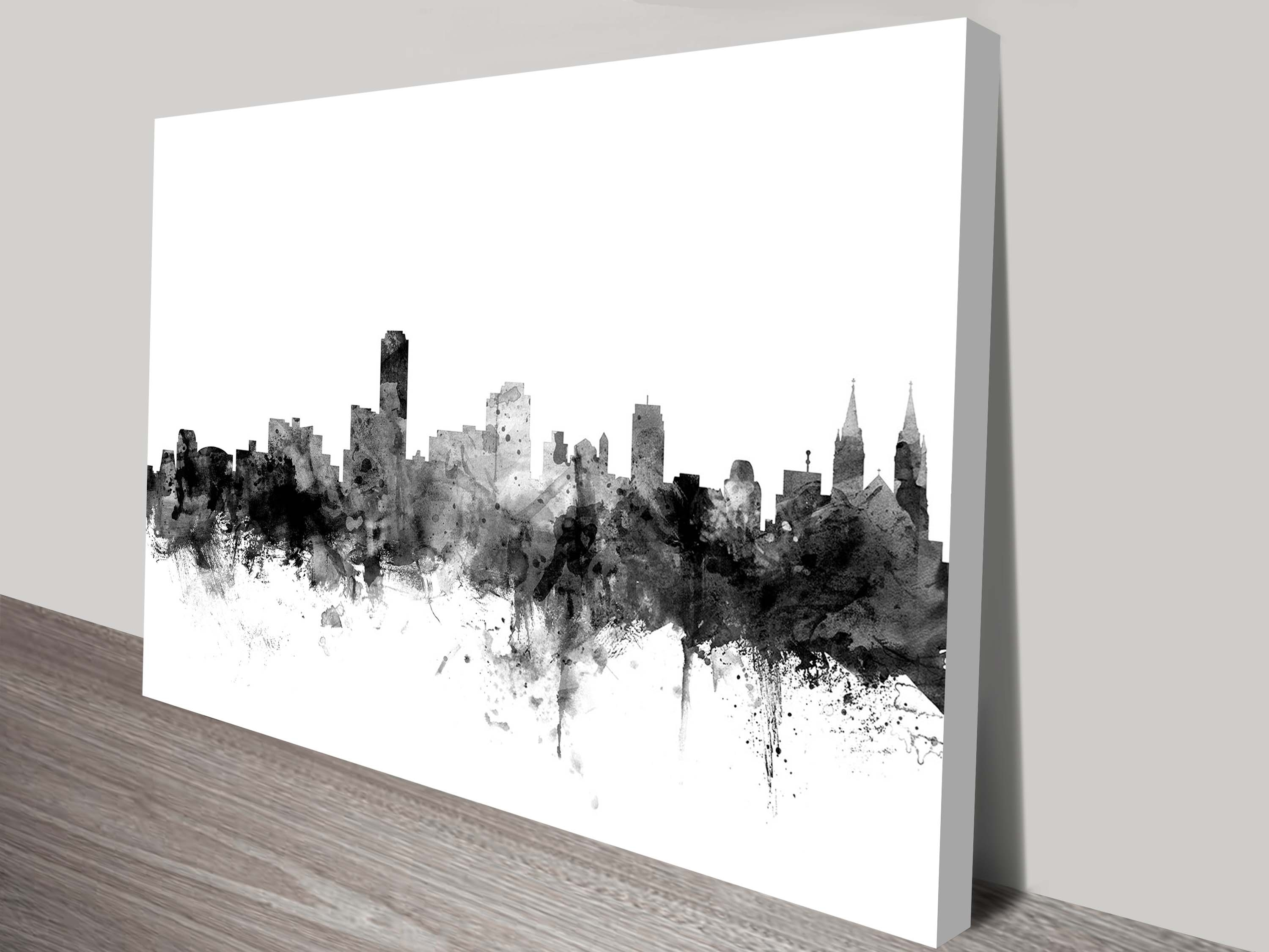 Adelaide Grey Watercolour Michael Tompsett Canvas Wall Art with Grey and White Wall Art (Image 4 of 20)