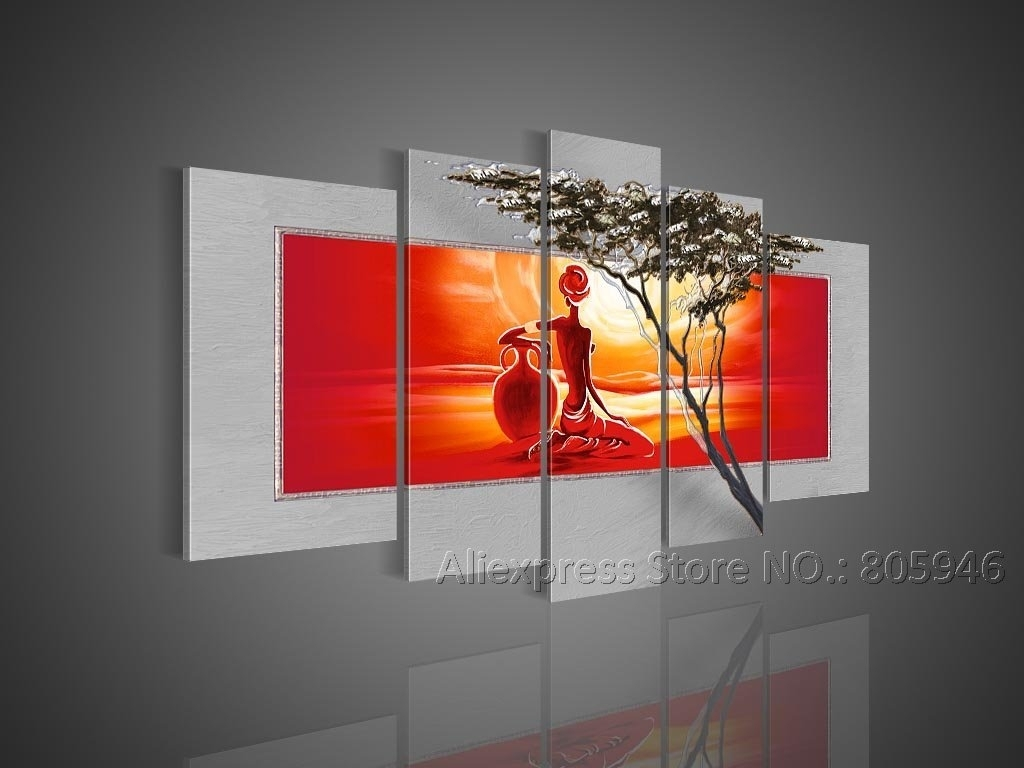 African Art Modern Wall Decor Landscape Oil Painting Canvas Framed within Modern Framed Wall Art Canvas (Image 4 of 20)