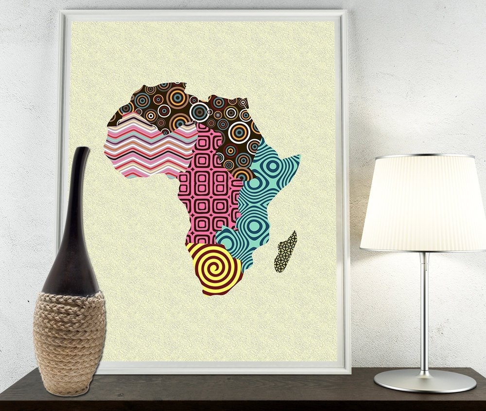 African Print Map Decor, African Wall Art, African Map Art, African for African Wall Art (Image 5 of 20)