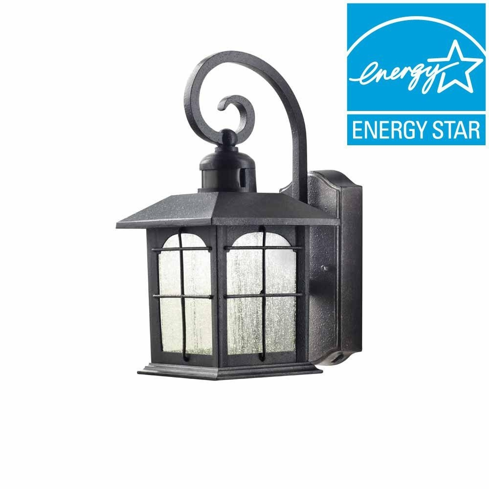 Aged Iron Motion Sensing Outdoor Led Wall Lantern | Iron, Outdoor for Outdoor Motion Lanterns (Image 1 of 20)