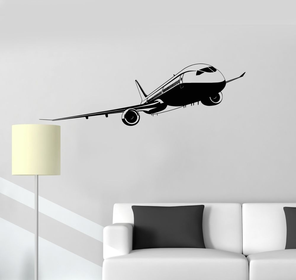Aircraft Vinyl Decal Aviation Airport Kids Room Art Wall Stickers pertaining to Aviation Wall Art (Image 5 of 20)