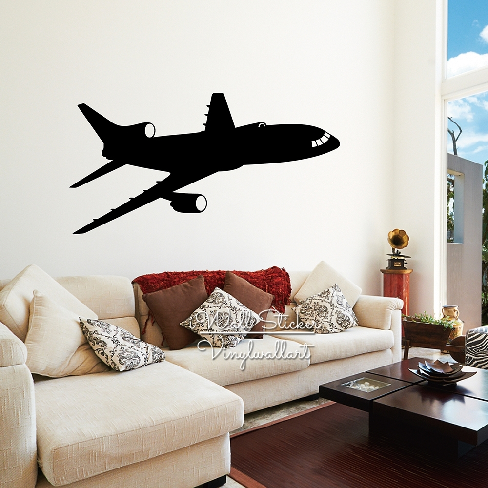 Airplane Wall Sticker Modern Airplane Wall Decal Diy Modern Wall Art inside Airplane Wall Art (Image 10 of 20)