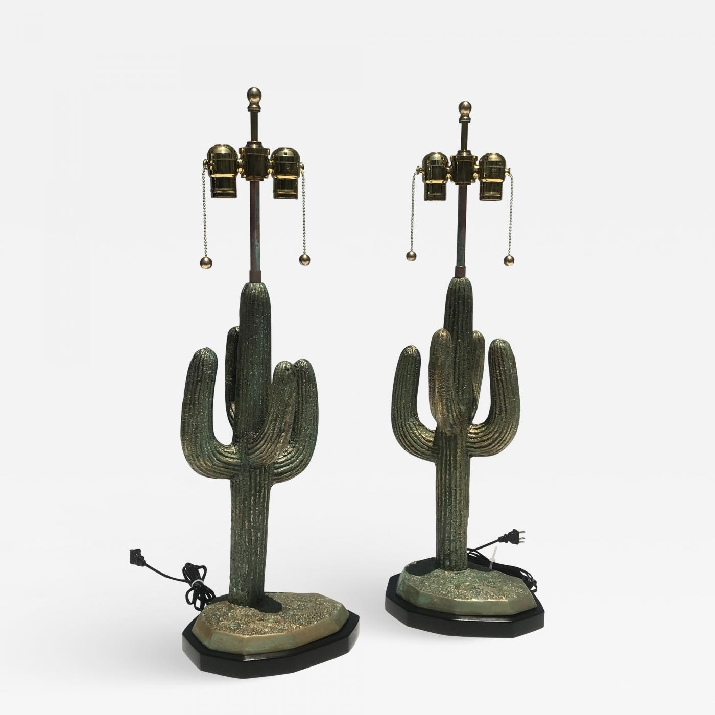 Alain Chervet - Pair Brass Cactus Lamps In Verdigris Patina pertaining to Cacti Brass Coffee Tables (Image 3 of 30)
