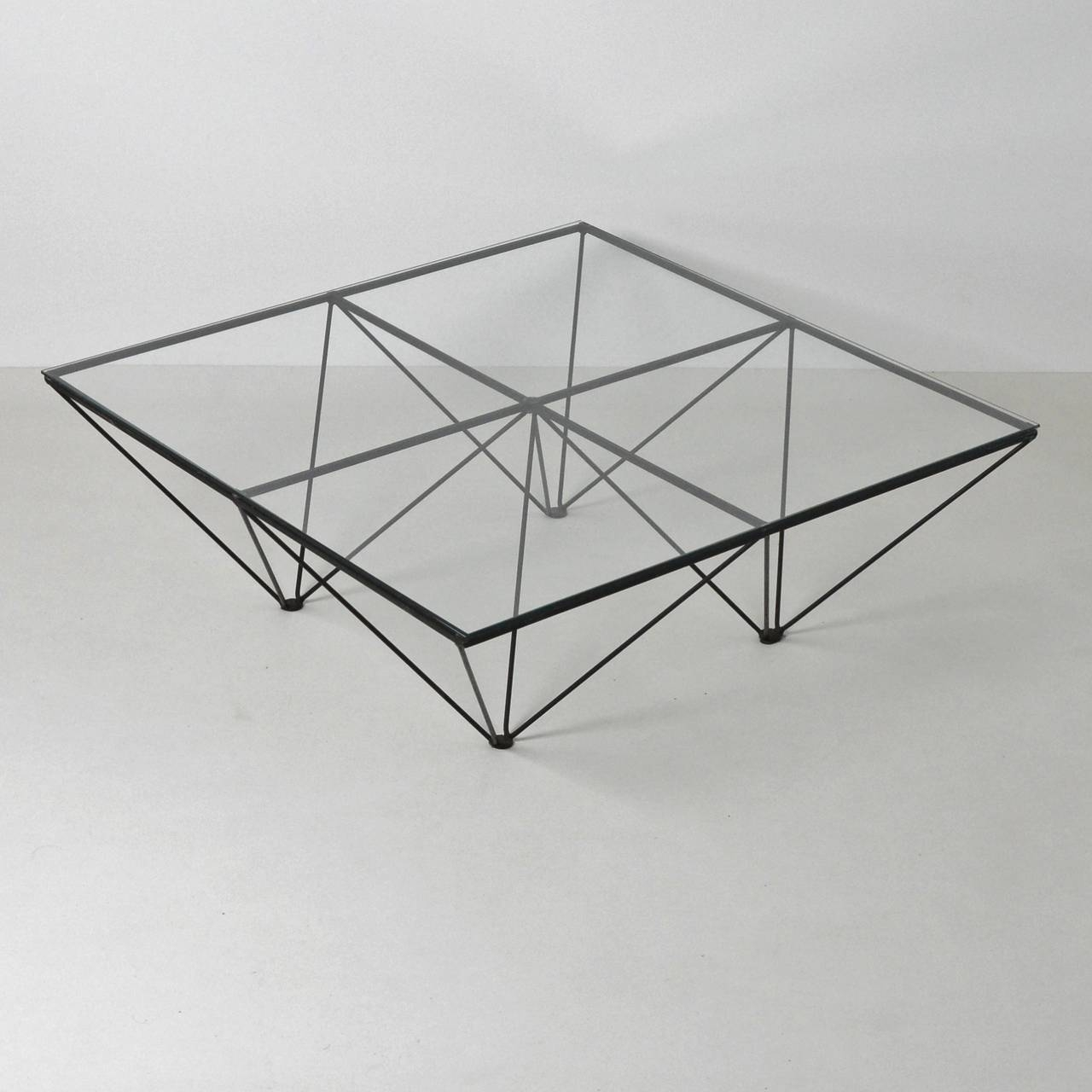 Alanda Style Geometric Glass Wire Framed Coffee Table At 1Stdibs pertaining to Black Wire Coffee Tables (Image 1 of 30)
