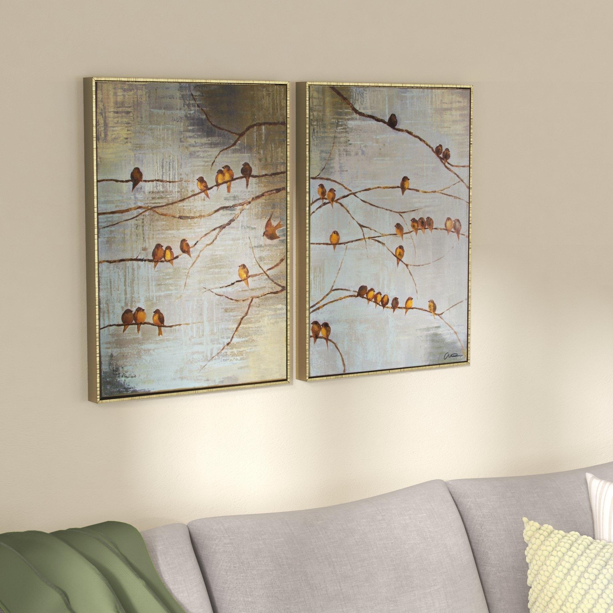 Alcott Hill 'flock Of Birds Handpainted' Framed Graphic Art Print On pertaining to Bird Framed Canvas Wall Art (Image 6 of 20)
