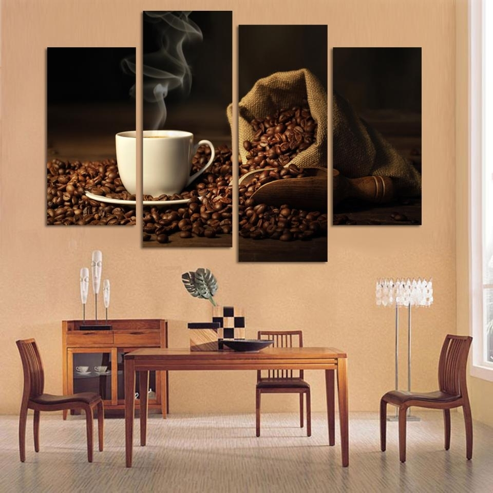 Aliexpress : Buy 4 Panels Modern Printed Coffee Canvas Art With Regard To Kitchen Canvas Wall Art (View 12 of 20)