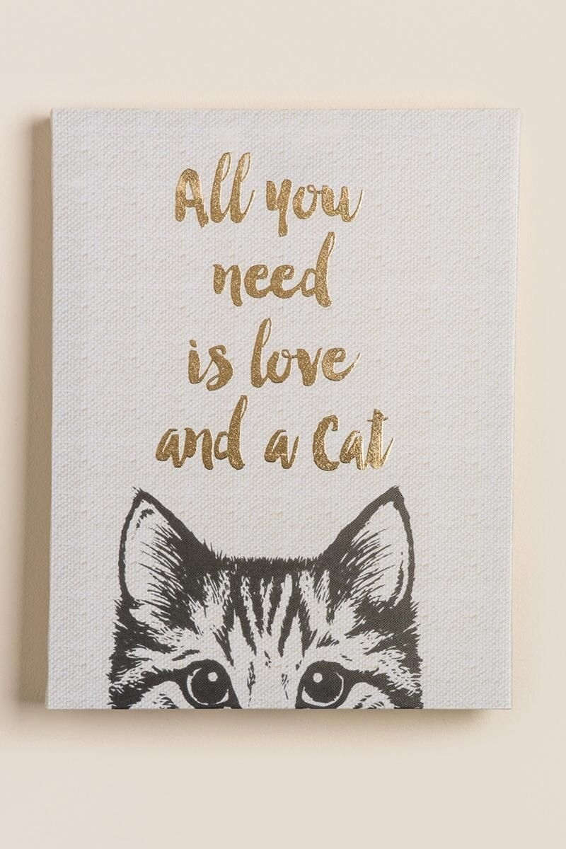 All You Need Is Love And A Cat Canvas Wall Decor | Shopping with regard to Cat Canvas Wall Art (Image 4 of 20)