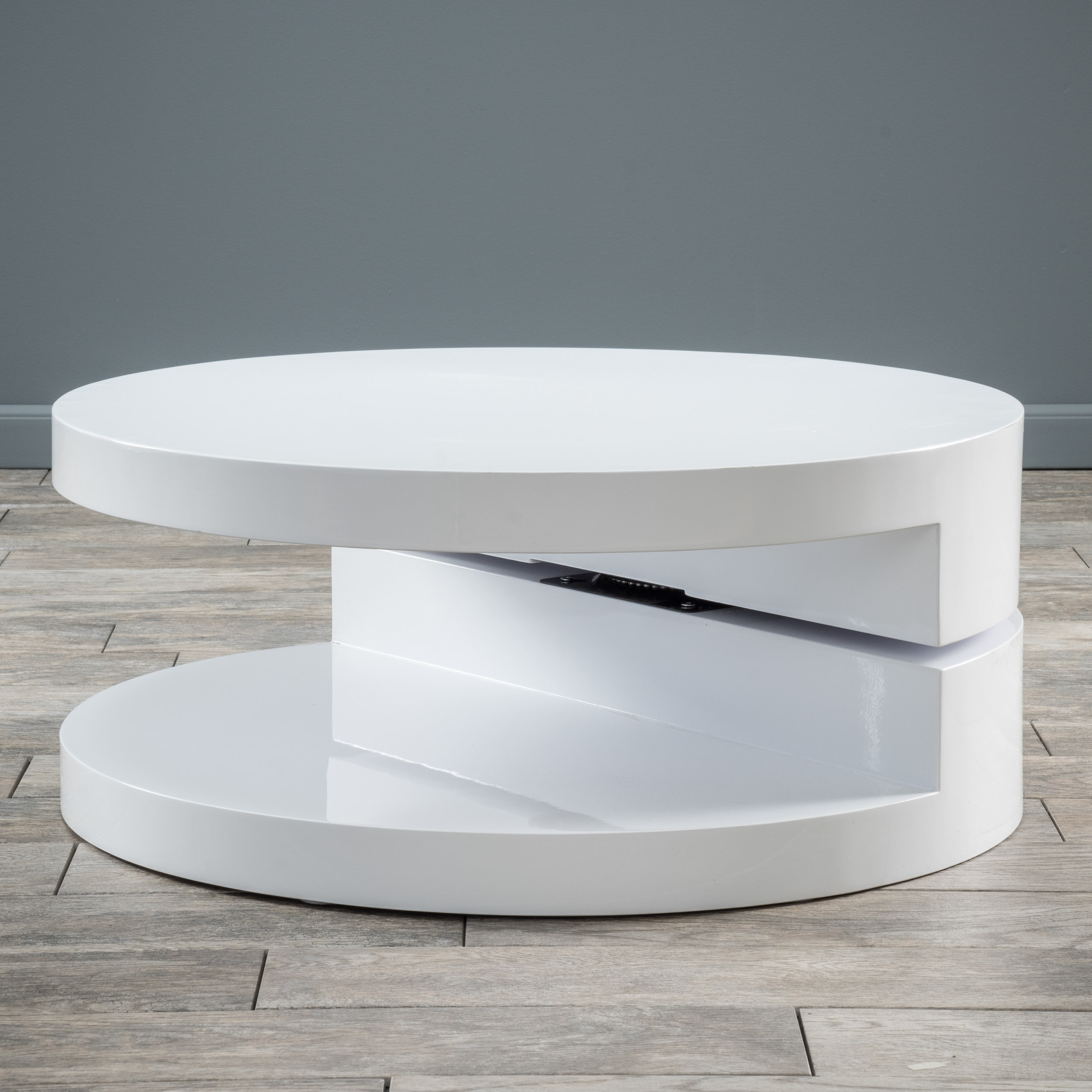 Alluring White Round Table Wood Material Glossy Finish Coffee Table Regarding Spin Rotating Coffee Tables (View 5 of 30)