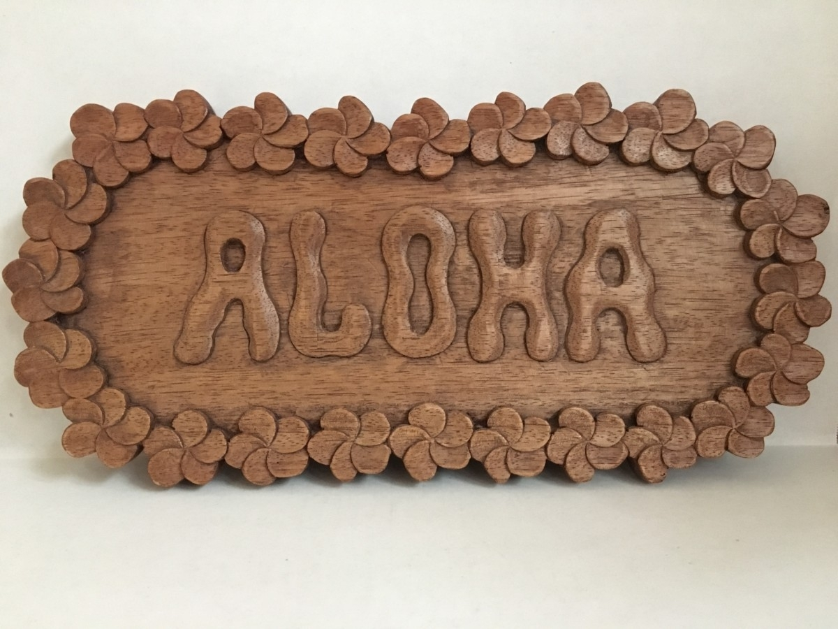 Aloha Hand Carved Wood Wall Art – Eclectic Garage inside Carved Wood Wall Art (Image 2 of 20)