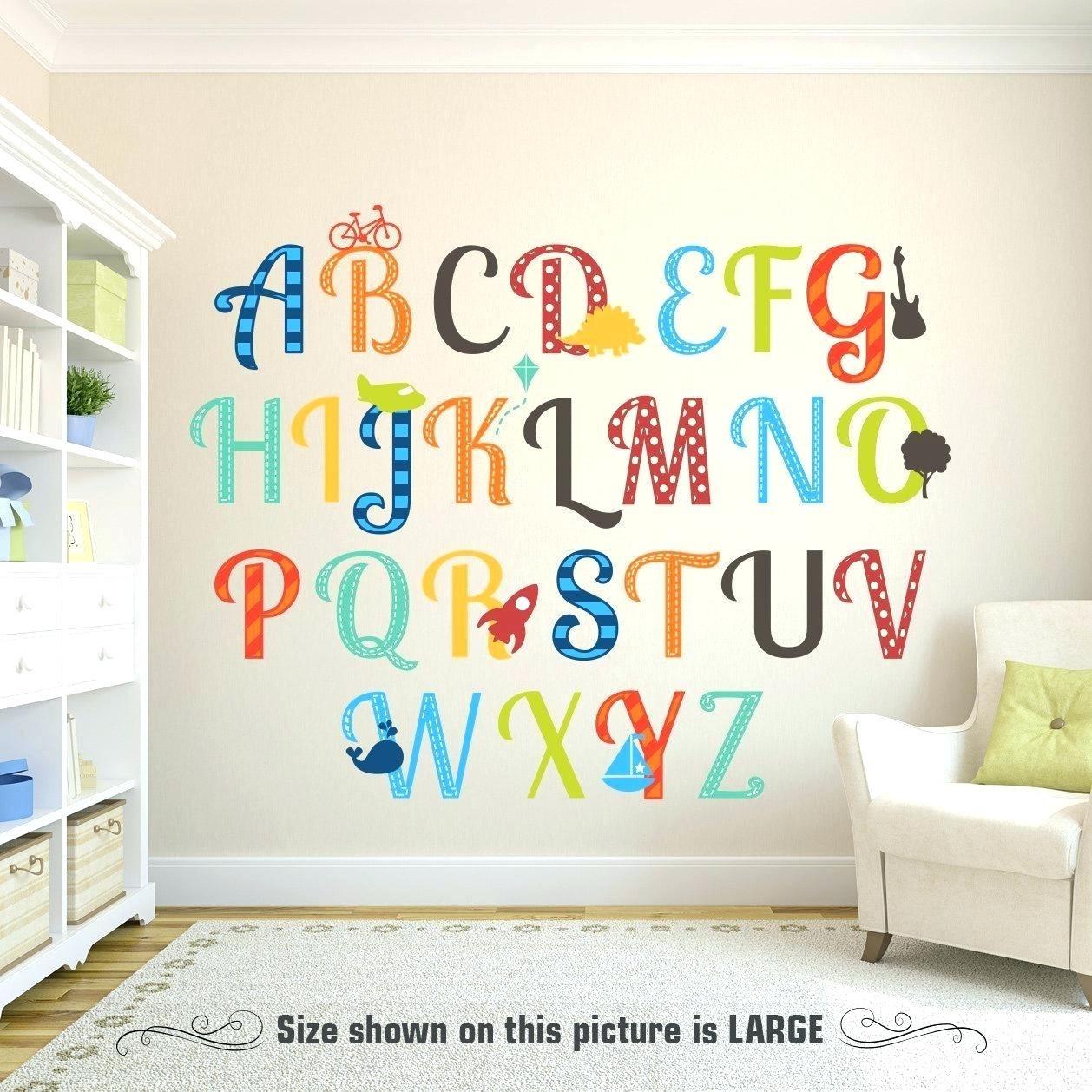 Alphabet Wall Decor Sport Wholehousefans Design Austin Art Nursery pertaining to Alphabet Wall Art (Image 4 of 20)