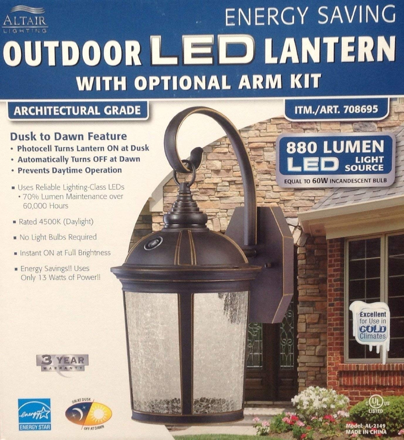 Altair Lighting Led Outdoor Lantern With Optional Arm Kit: Amazon.ca pertaining to Outdoor Lanterns With Photocell (Image 1 of 20)