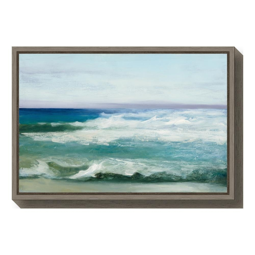 "Amanti Art ""azure Ocean""julia Purinton Framed Canvas Wall Art in Ocean Wall Art (Image 6 of 20)"