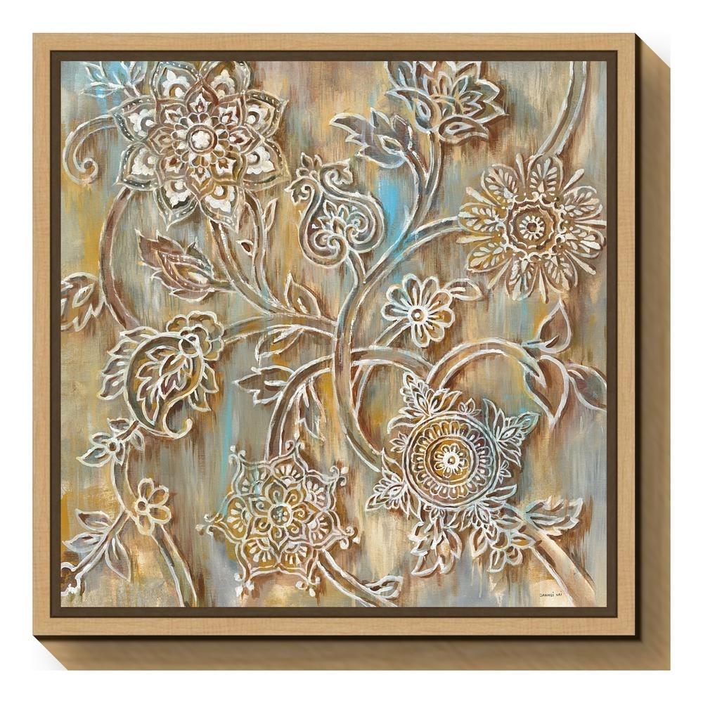 "Amanti Art ""henna Crop""danhui Nai Framed Canvas Wall Art within Henna Wall Art (Image 2 of 20)"