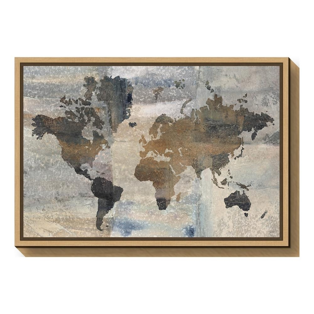 "Amanti Art ""stone World (map)""avery Tillmon Framed Canvas Wall For World Map Wall Art Canvas (View 18 of 20)"