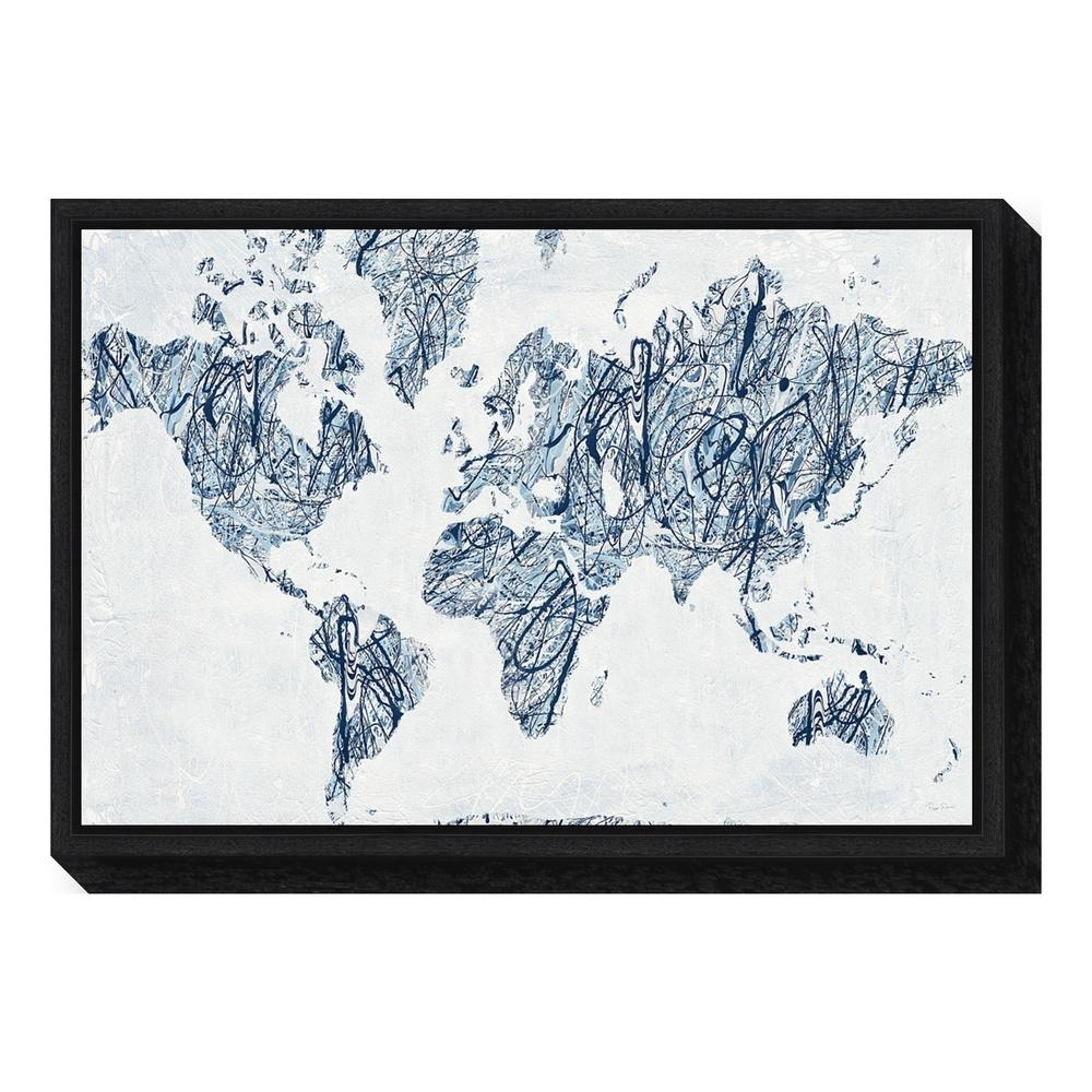 "Amanti Art ""world On A String Map""piper Rhue Framed Canvas Wall With String Map Wall Art (View 3 of 20)"