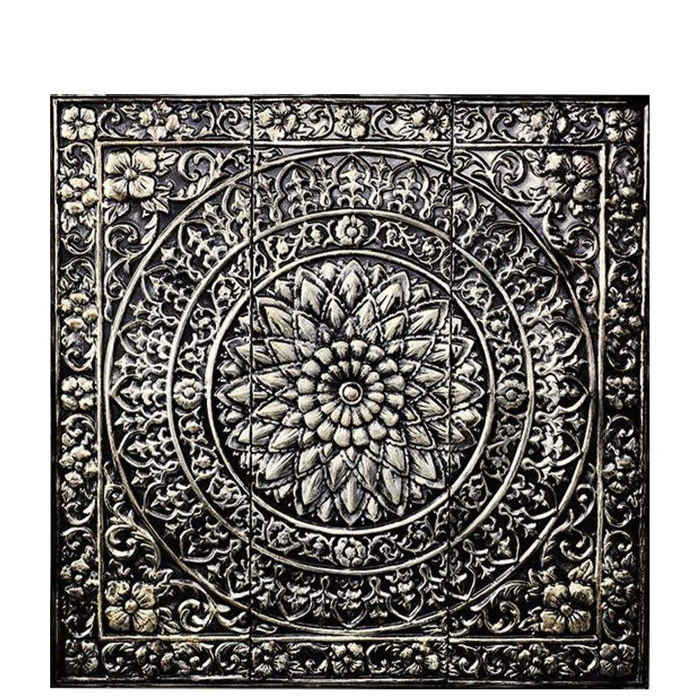 Amaryllis 36 In. Square Metal Wall Decor In Metallic-80951 - The within Metal Wall Art (Image 2 of 20)