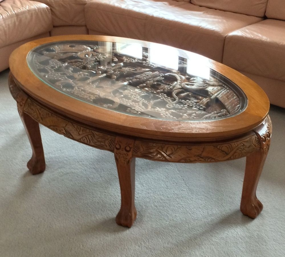 Amazing Hand Carved Chinese Coffee Table With Glass Top ,great Inside Large Scale Chinese Farmhouse Coffee Tables (View 2 of 30)