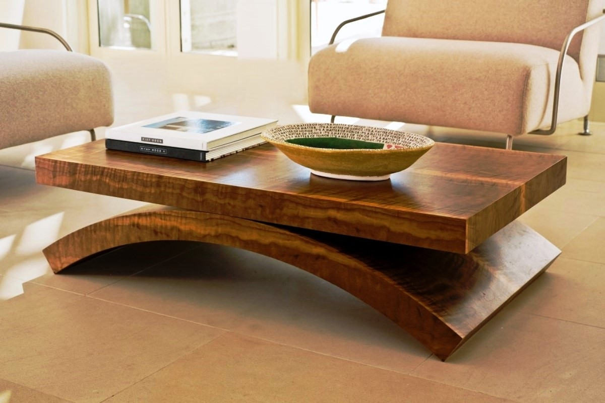 Amazing Unique Coffee Table Comes With Rectangle Shape Brown Wooden Regarding Contemporary Curves Coffee Tables (View 2 of 30)