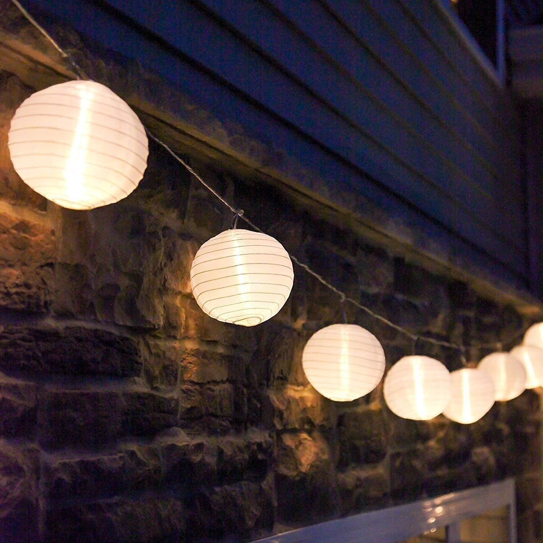 Amazon: 10 Ft. White Outdoor String Light, 10 Mini Lanterns, 1 for Outdoor Nylon Lanterns (Image 2 of 20)