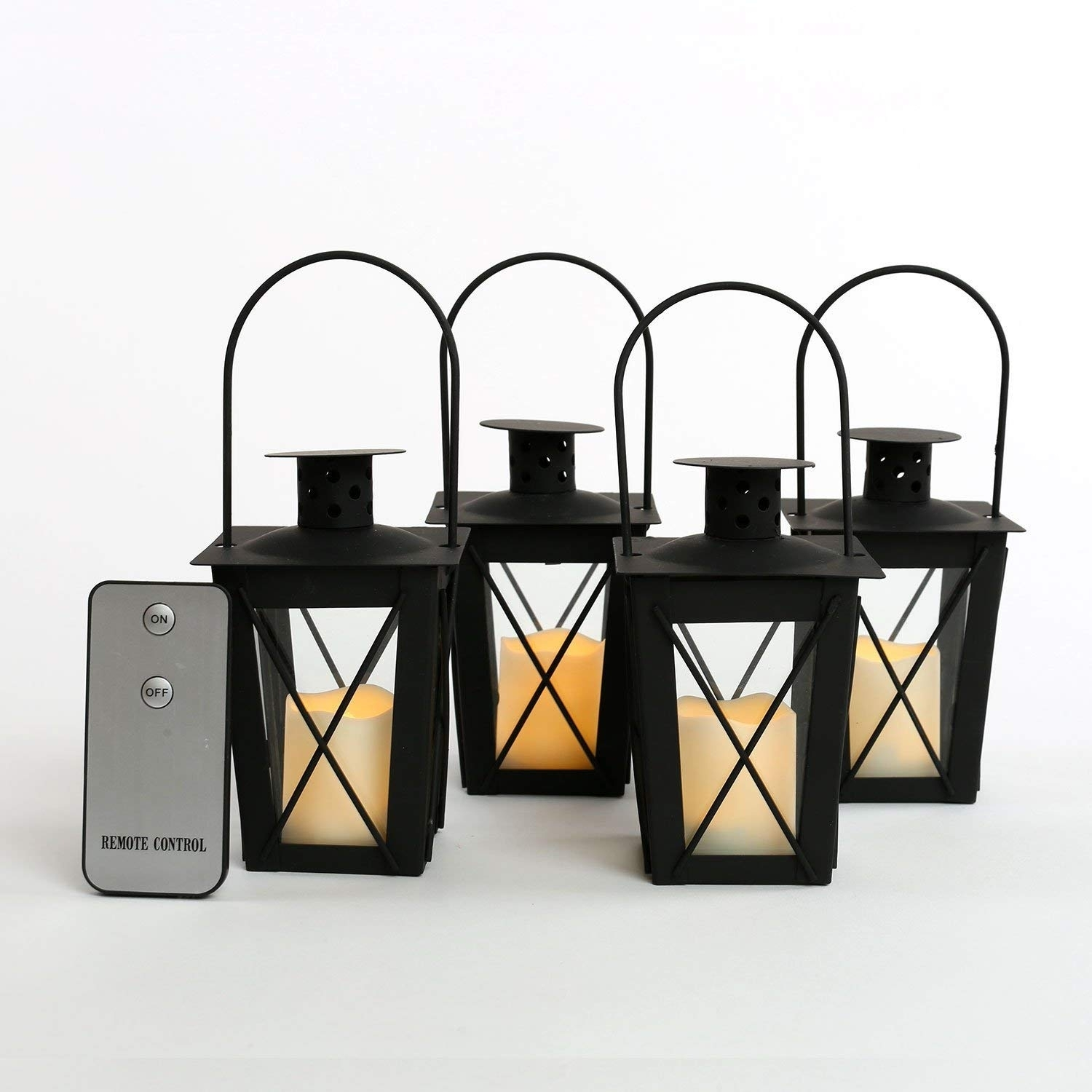 Amazon: 4 Black Mini Flameless Lanterns With 4 Ivory Resin throughout Outdoor Lanterns With Remote Control (Image 2 of 20)