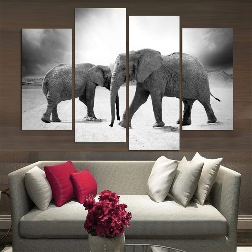 Amazon: 4 Piece Home Decor Oil Painting Two Elephants Hd Print with regard to Elephant Canvas Wall Art (Image 6 of 20)