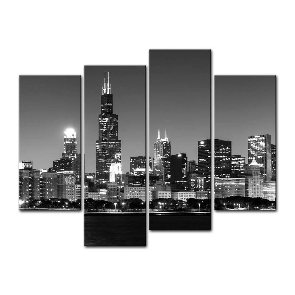 Amazon: 4 Pieces Modern Canvas Painting Wall Art The Picture For within Chicago Wall Art (Image 3 of 20)