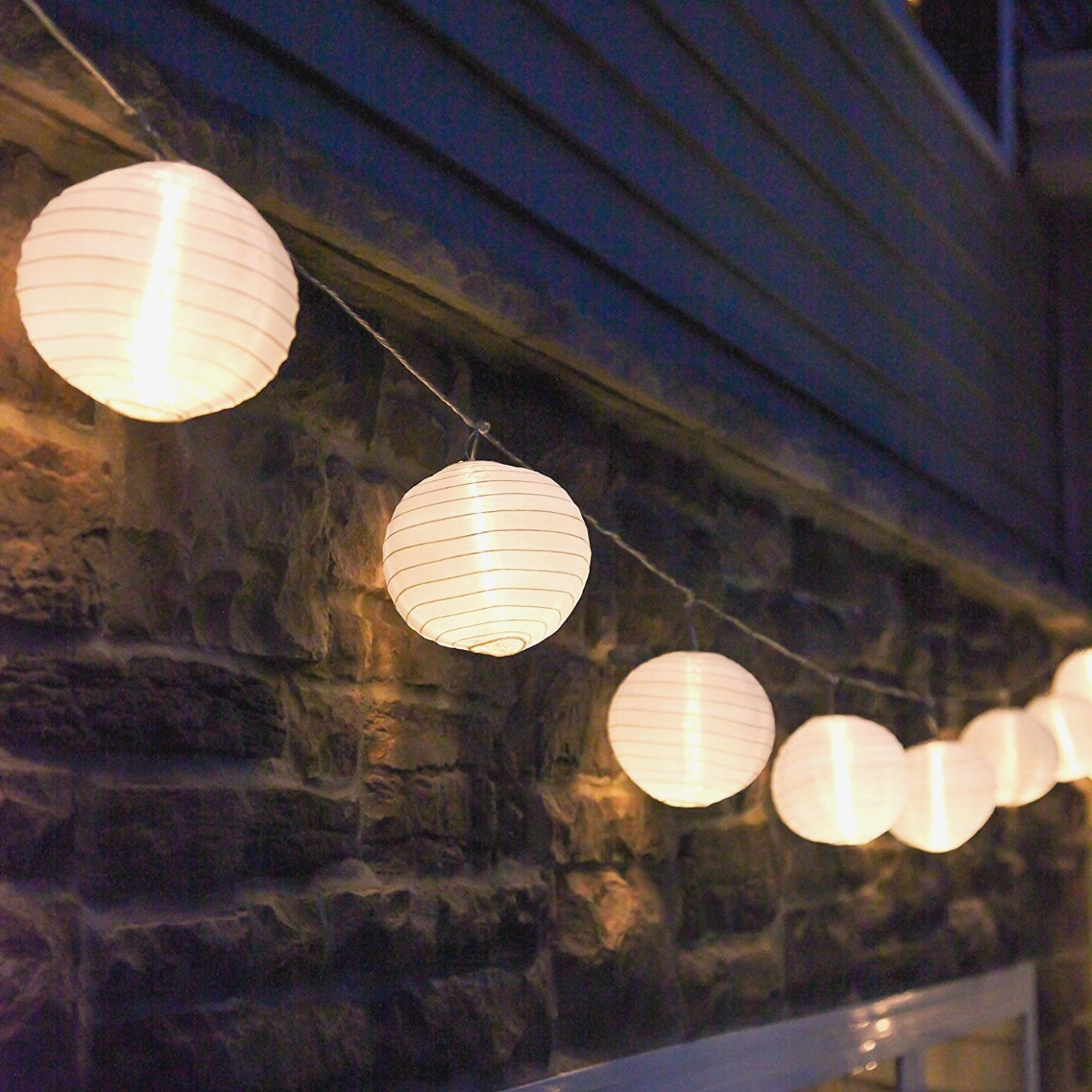 Amazon: 40 Ft. White Outdoor String Light, 40 Mini Lanterns, 40 inside Outdoor Plastic Lanterns (Image 1 of 20)