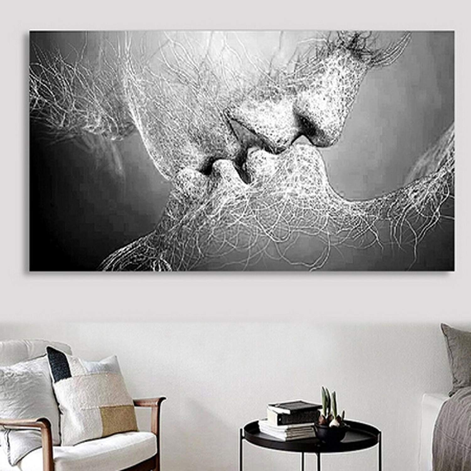 "Amazon: 40""x 24"" Fashion Black & White Love Kiss Abstract Art On throughout Black Wall Art (Image 4 of 20)"