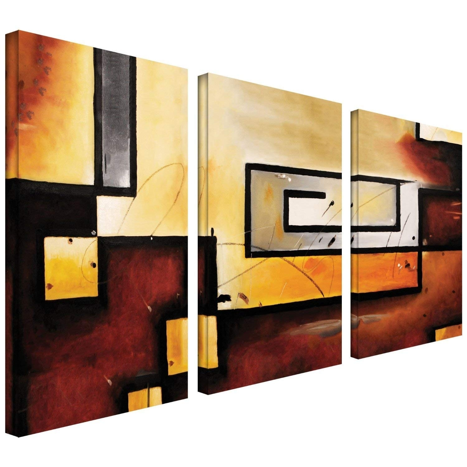 Amazon: Art Wall 3 Piece Abstract Modern Gallery Wrapped Canvas Throughout Abstract Canvas Wall Art (View 3 of 20)