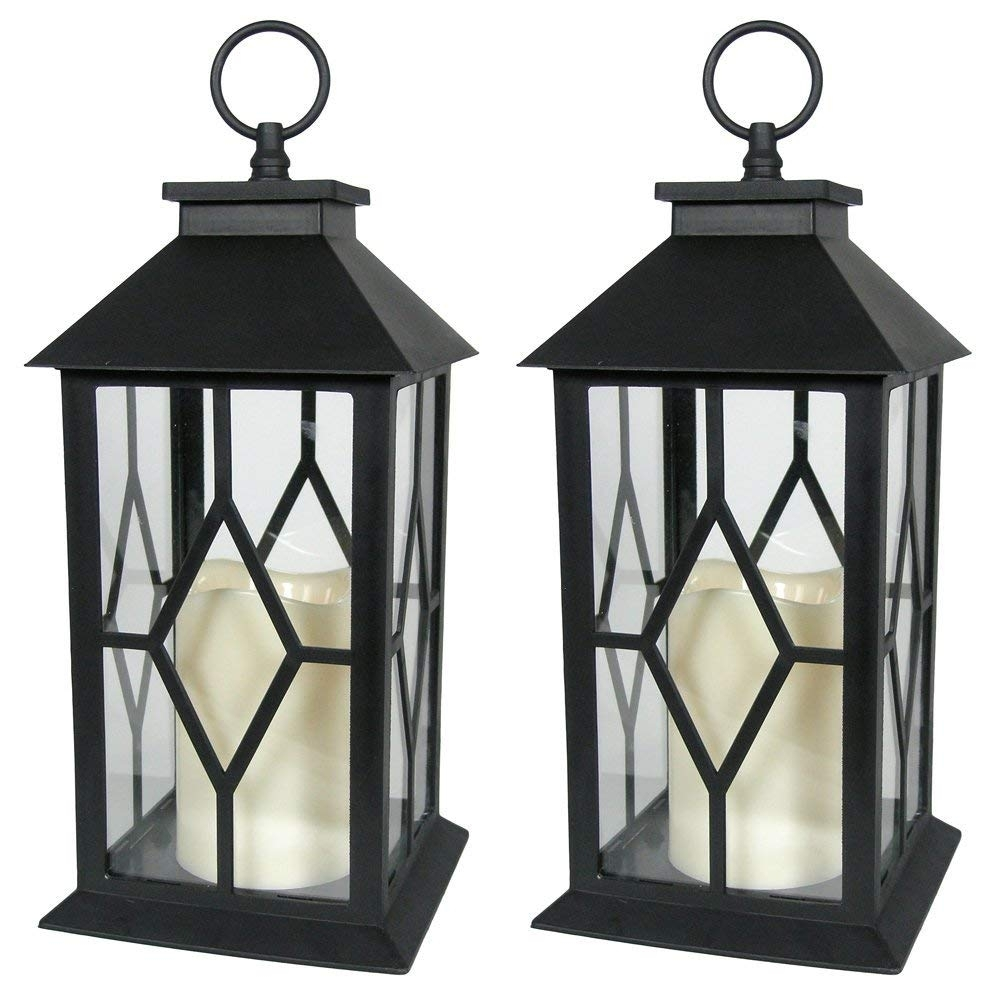 Amazon: Banberry Designs Decorative Lanterns - Black Decorative throughout Outdoor Lanterns With Timers (Image 1 of 20)