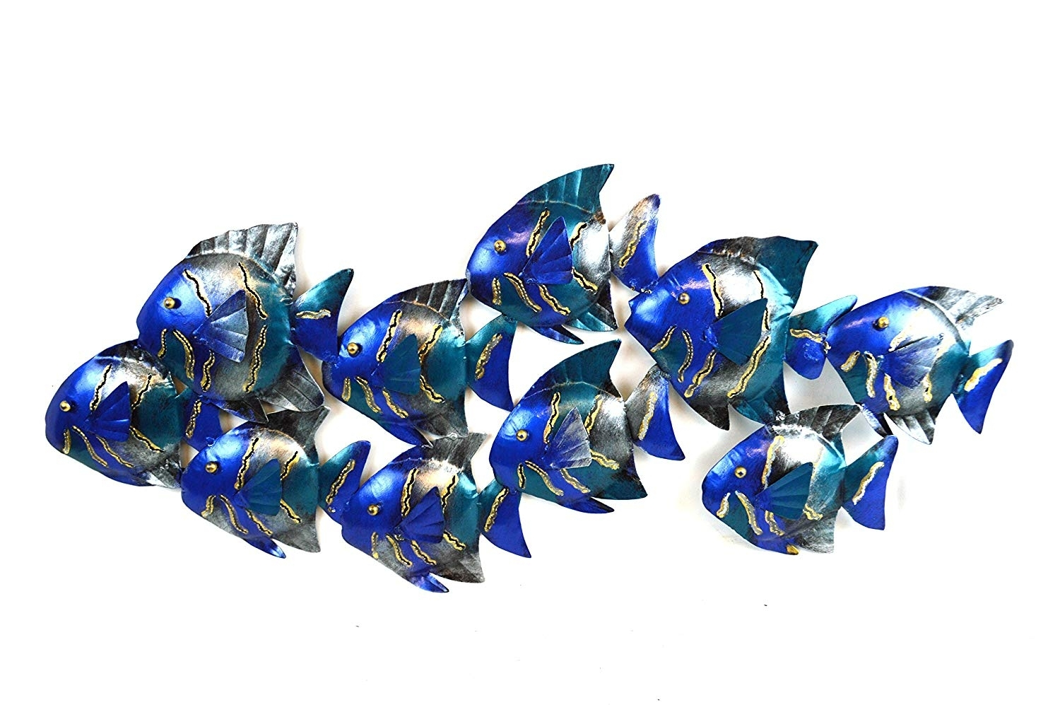 Amazon: Beautiful Unique Blue Nautical School Of Fish inside Metal Wall Art (Image 3 of 20)
