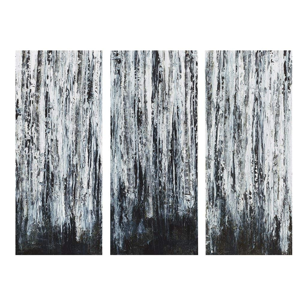 Amazon: Birch Forest Multi Panel White Black Canvas Wall Art inside Grey and White Wall Art (Image 5 of 20)
