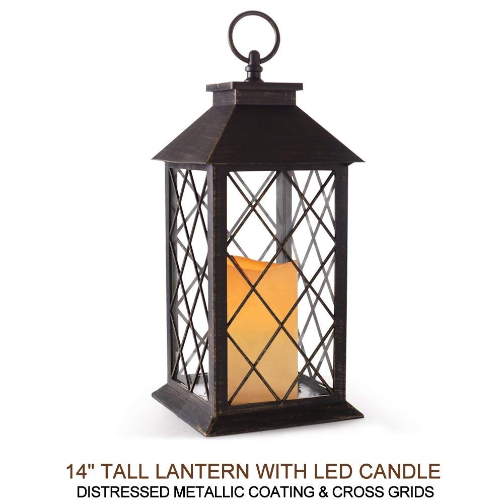 "Amazon: Bright Zeal 14"" Tall Bronze Vintage Candle Lantern With pertaining to Outdoor Vintage Lanterns (Image 2 of 20)"