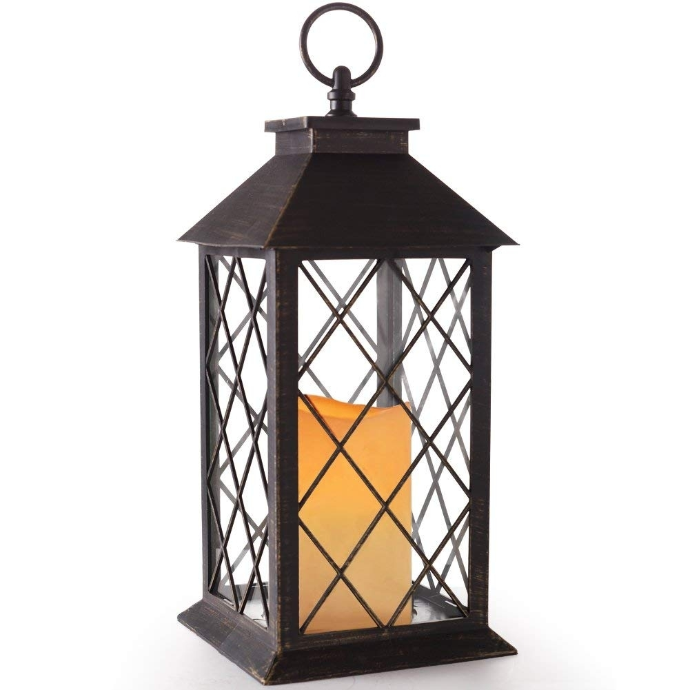 "Amazon: Bright Zeal 14"" Tall Bronze Vintage Candle Lantern With Regarding Outdoor Lanterns With Battery Candles (View 8 of 20)"