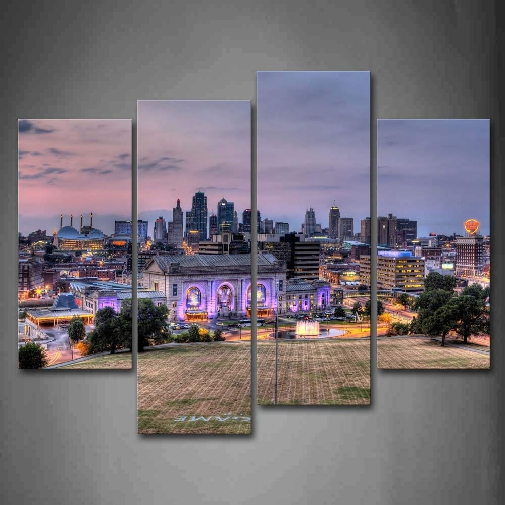 Amazon: Buildings Of Kansas City With Wide Square Wall Art inside Kansas City Wall Art (Image 1 of 20)
