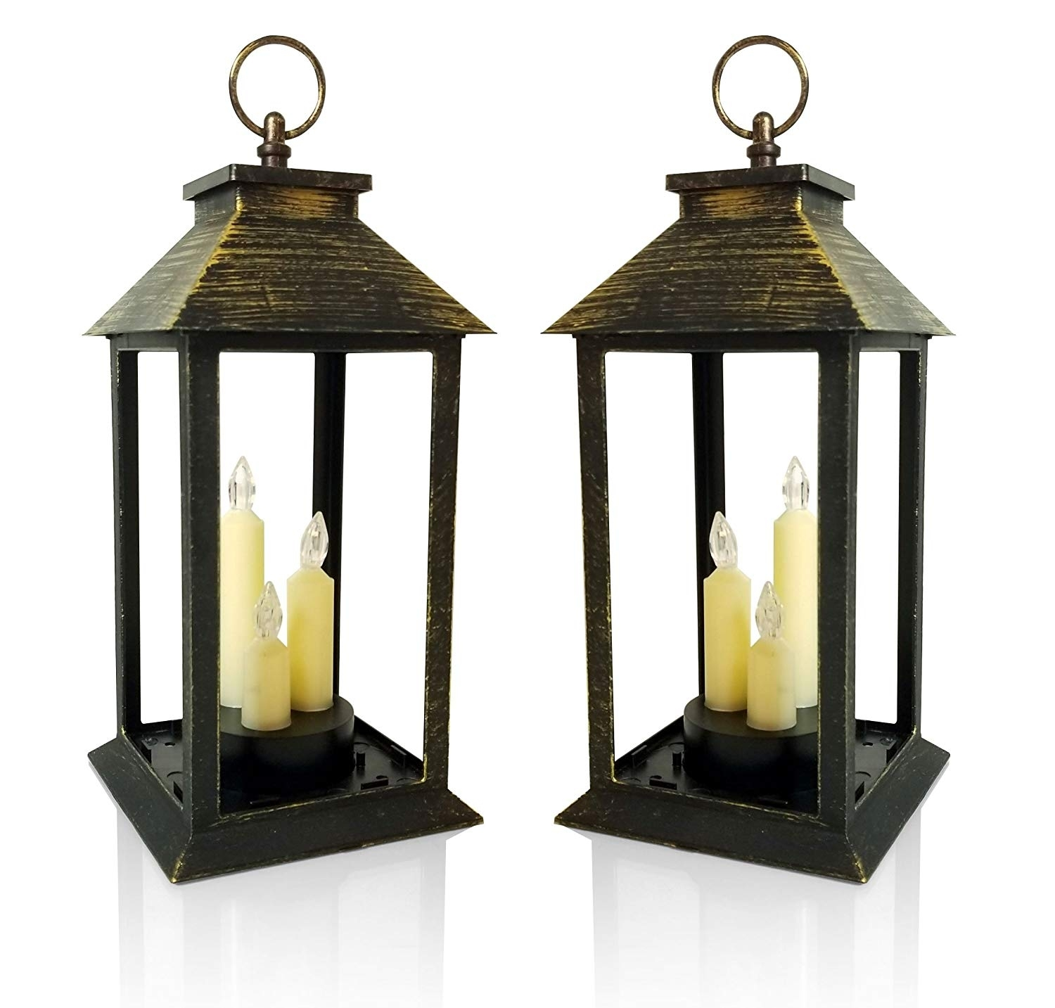 Amazon: Candle Lanterns - Set Of 2 Antique Gold Lanterns With 3 for Jumbo Outdoor Lanterns (Image 3 of 20)