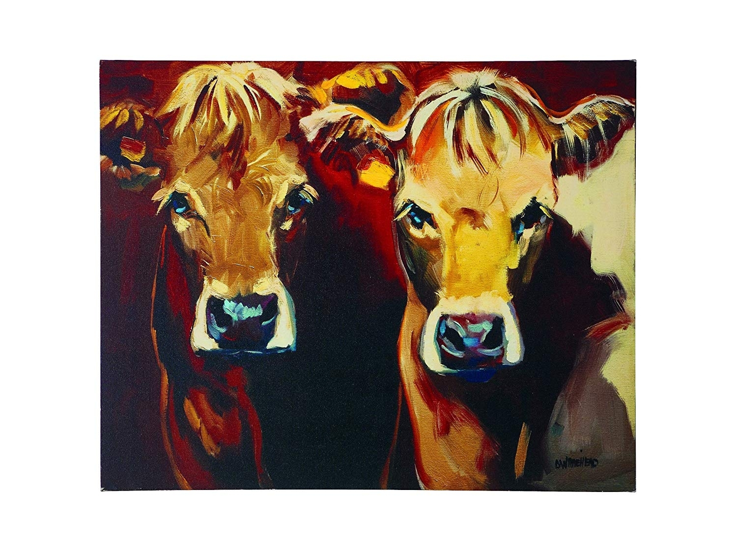 Amazon: Creative Co Op Canvas Cow Plaque: Prints: Posters & Prints For Cow Canvas Wall Art (View 5 of 20)