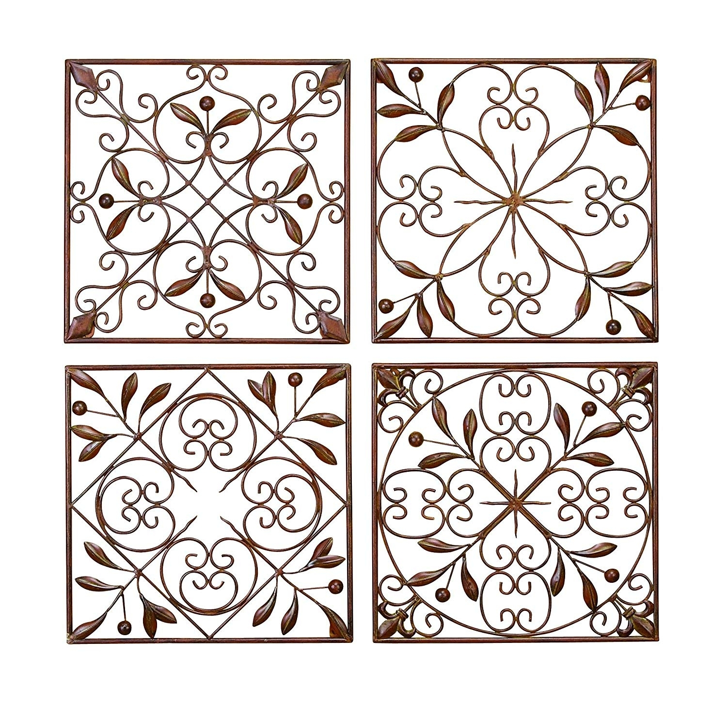 Amazon: Deco 79 50035 Metal Wall Decor Set Of 4: Home & Kitchen with regard to Iron Wall Art (Image 3 of 20)