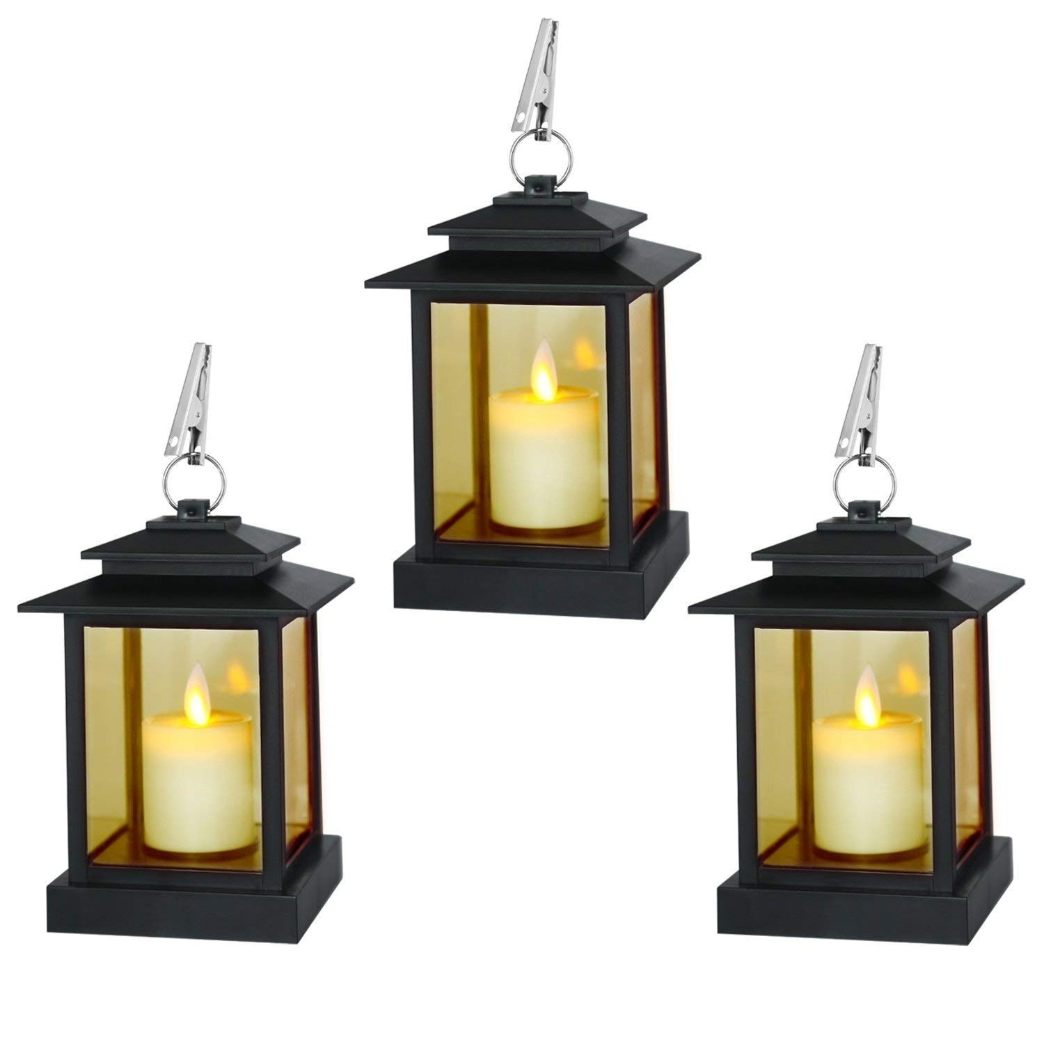 Amazon: Decorative Candle Lanterns, Set Of 3 Indoor And Outdoor pertaining to Outdoor Lanterns With Timers (Image 2 of 20)