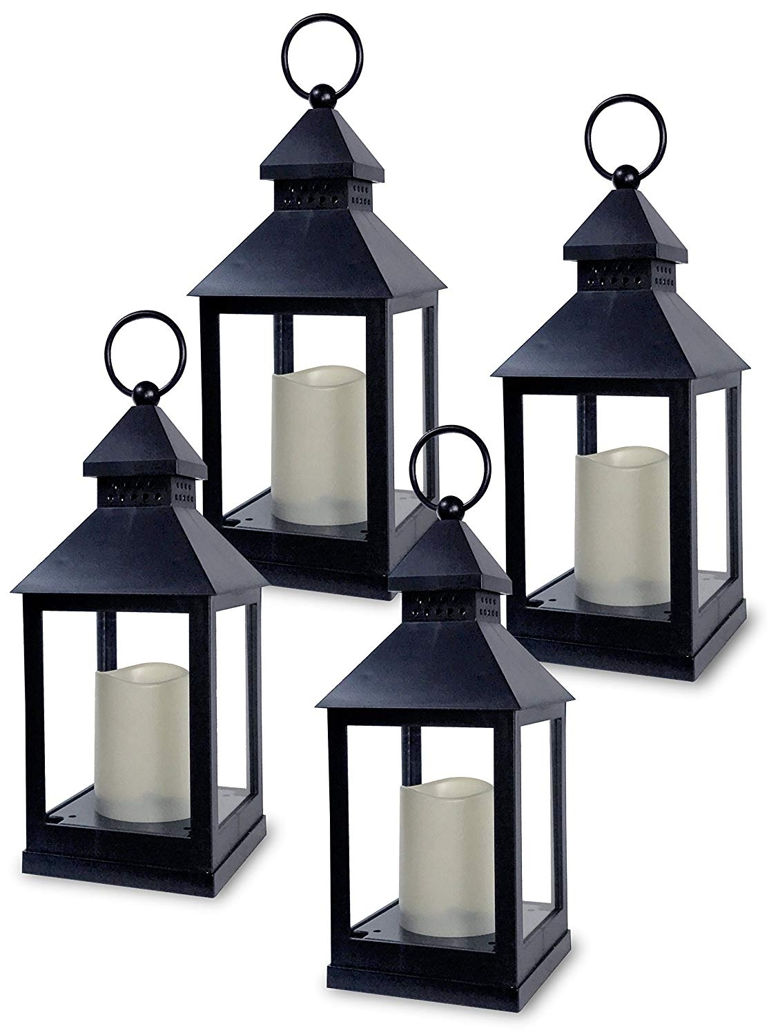 "Amazon: Decorative Lantern - Set Of 4-5 Hour Timer - 11""h Black with Xl Outdoor Lanterns (Image 3 of 20)"