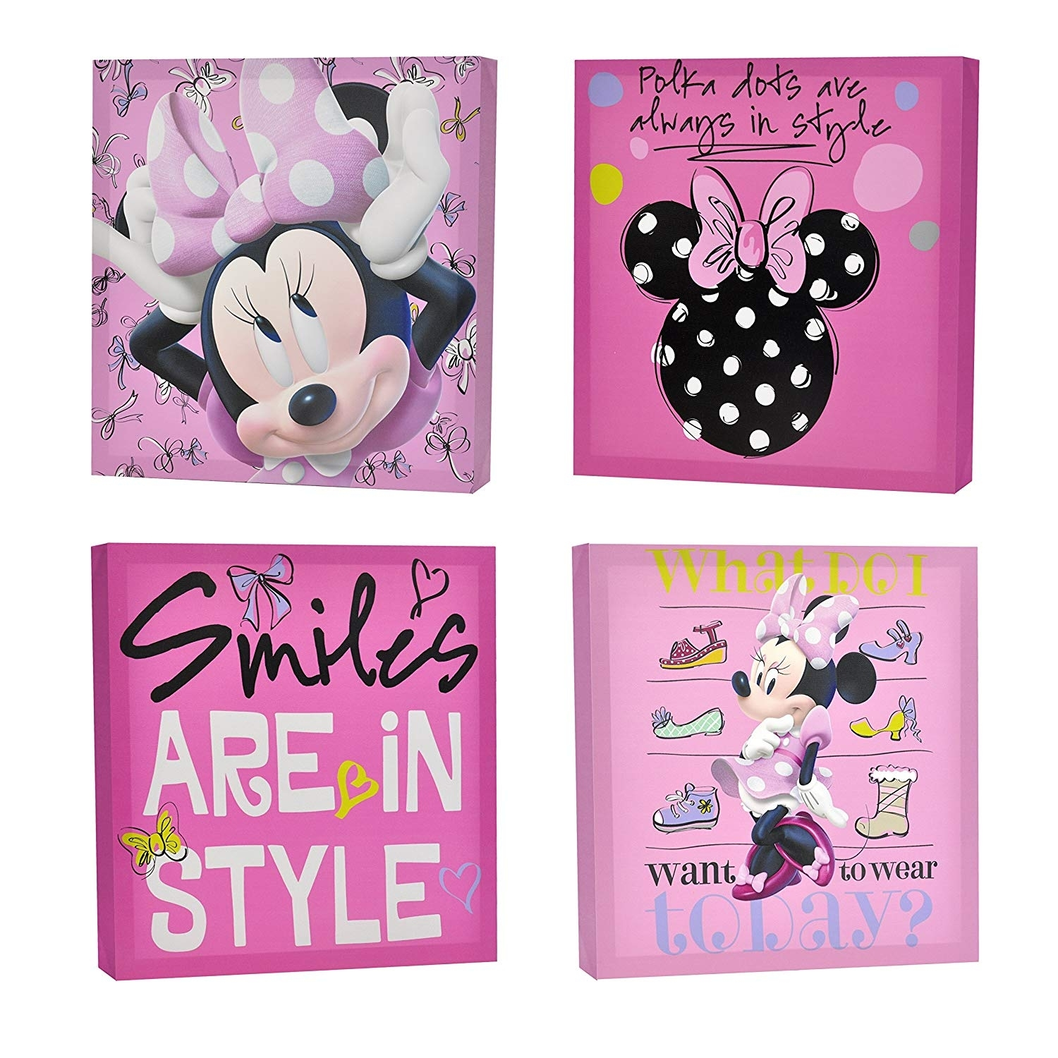Amazon: Disney Minnie Mouse Canvas Wall Art (4-Piece): Toys & Games in Mickey Mouse Canvas Wall Art (Image 1 of 20)