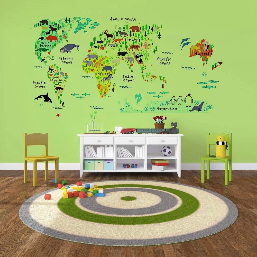Amazon: Eveshine Animal World Map Wall Decals Stickers For For World Map Wall Art For Kids (View 2 of 20)
