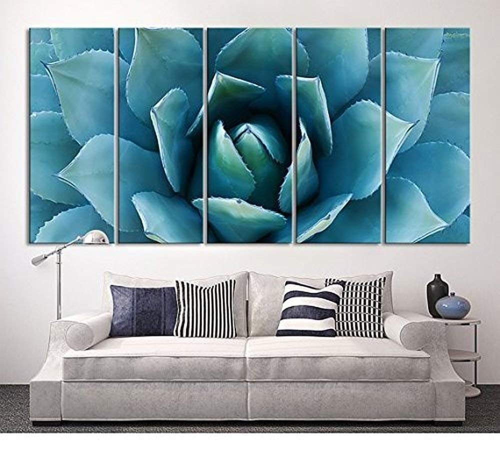 Amazon: Ezon-Ch Large Wall Art Blue Agave Canvas Prints Agave throughout Oversized Teal Canvas Wall Art (Image 3 of 20)