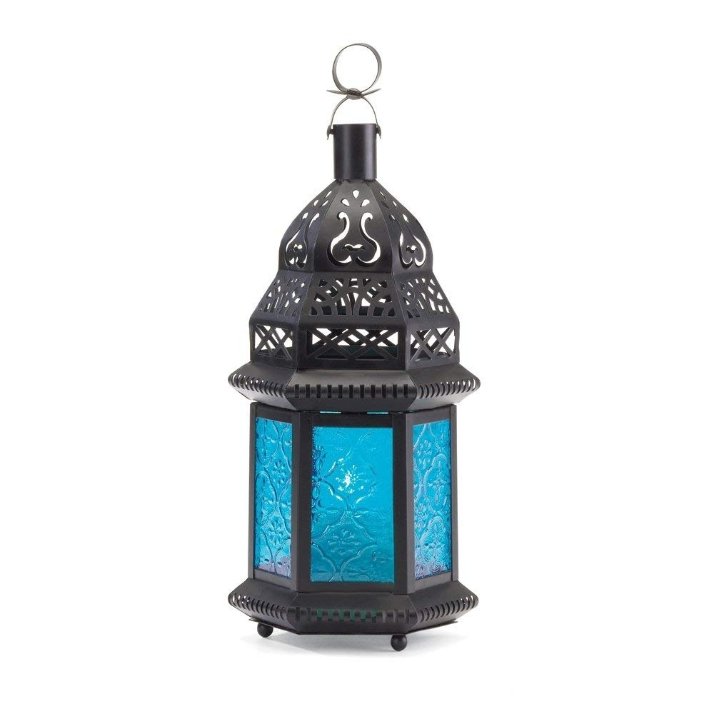 Amazon: Gallery Of Light Moroccan Lantern Blue Glass Candle pertaining to Blue Outdoor Lanterns (Image 3 of 20)