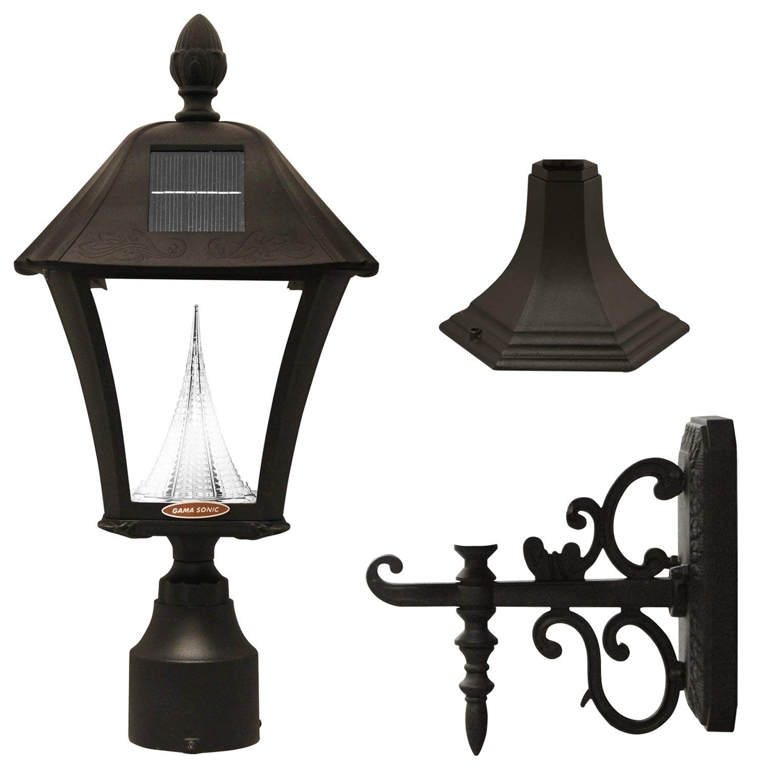 Amazon : Gama Sonic Baytown Solar Outdoor Lamp Gs-106Fpw-B pertaining to Outdoor Pole Lanterns (Image 2 of 20)