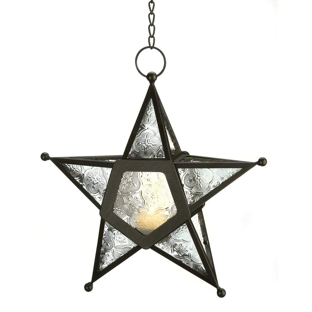 Amazon: Gifts & Decor Glass Hanging Star Candle Lantern, Clear throughout Outdoor Indian Lanterns (Image 2 of 20)