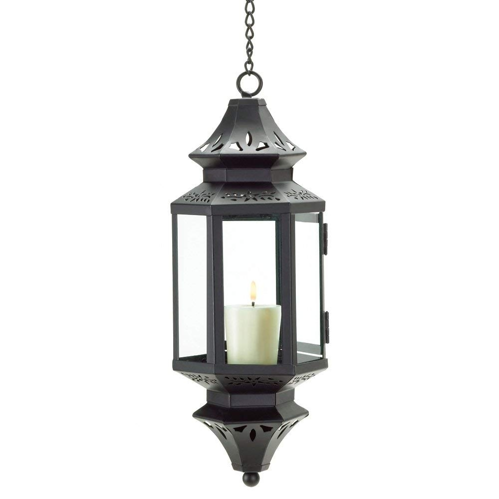 Amazon: Gifts & Decor Hanging Moroccan Lantern Glass Outdoor inside Moroccan Outdoor Electric Lanterns (Image 4 of 20)