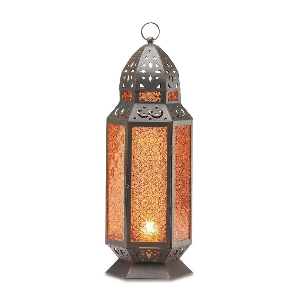 Amazon: Gifts & Decor Tall Moroccan-Style Candle Lantern: Home regarding Moroccan Outdoor Electric Lanterns (Image 5 of 20)